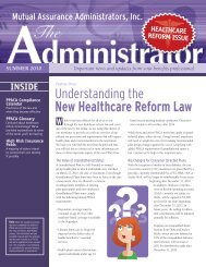 New Healthcare Reform Law - Mutual Assurance Administrators