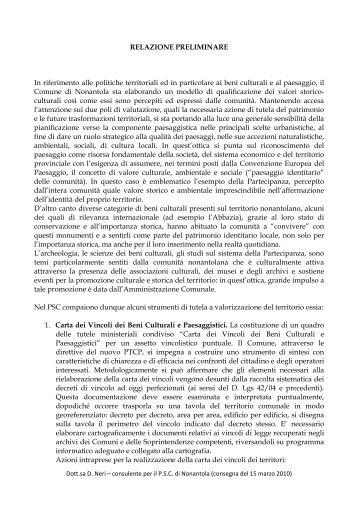 Relazione preliminare - Unione dei Comuni del Pratomagno