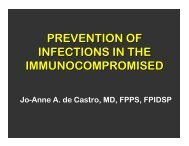 PREVENTION OF INFECTIONS IN THE IMMUNOCOMPROMISED