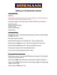Setting up a V2 Supramatic operator - Sparesmaster