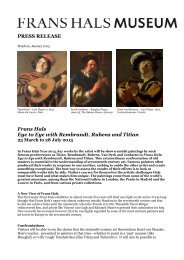 PRESS RELEASE Frans Hals Eye to Eye with Rembrandt, Rubens ...