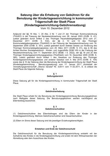 Kindertageseinrichtung-Gebührensatzung vom 10.12.20