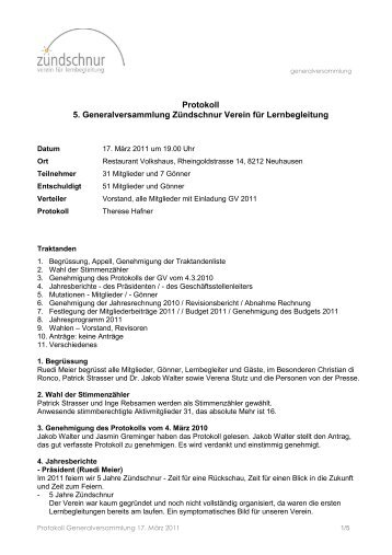 Protokoll der Generalversammlung 2011 - Zündschnur