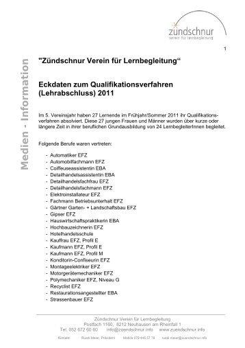 Information zum Qualifikationsverfahren 2011 - Zündschnur