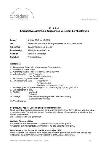 Protokoll der Generalversammlung 2010 - Zündschnur