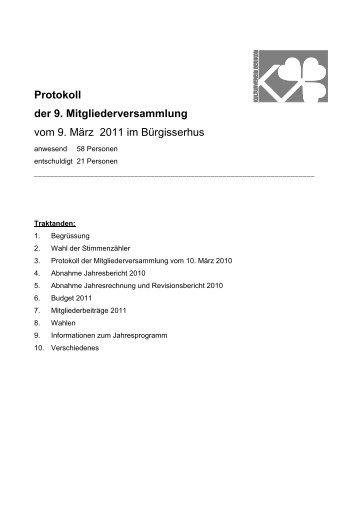 Protokoll der 9. Mitgliederversammlung vom 9. März 2011 im ...