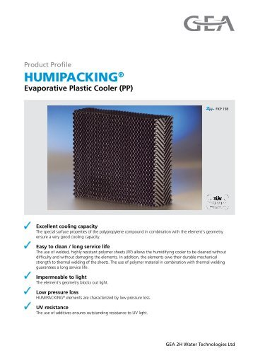 HUMIPACKING® Evaporative Plastic Cooler - GEA 2H Water ...