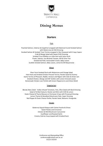 Menu - Dining - Trinity Hall