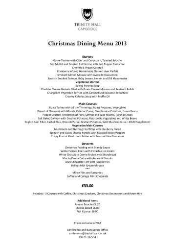 Trinity Hall 2013 Christmas Dining Menu