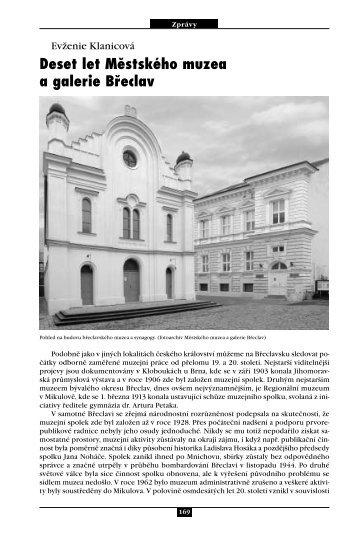 Evženie Klanicová Deset let Městského muzea a galerie Břeclav