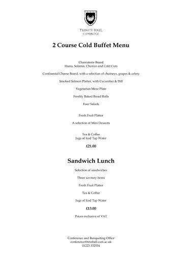 Cold Buffet Lunch Menus 2013 - Trinity Hall