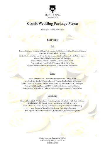 Menu - Classic Wedding Package 2013-14