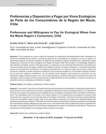 Preferencias y Disposición a Pagar por Vinos Ecológicos de Parte ...