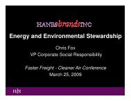 Energy and Environmental Stewardship - Faster Freight - Cleaner Air
