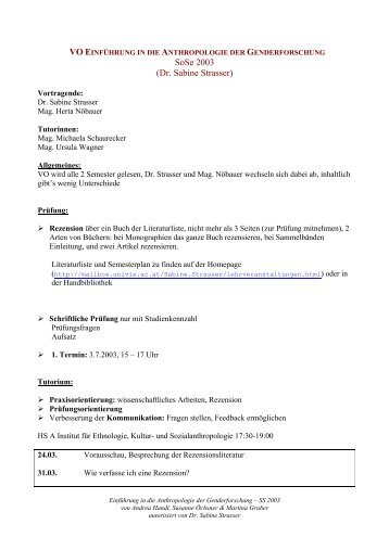SoSe 2003 (Dr. Sabine Strasser) - WIR Pensis