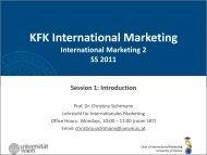 KFK International Marketing - Chair of International Marketing