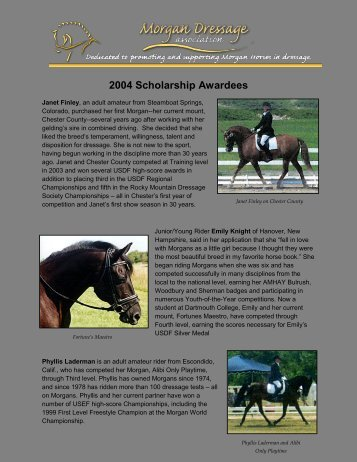 2004 Scholarship Awardees - Morgan Dressage Association