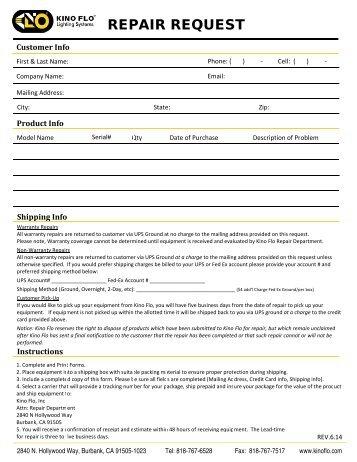 Repair Request Form   Resume Template
