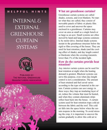 INTERNAL & EXTERNAL GREENHOUSE CURTAIN SYSTEMS