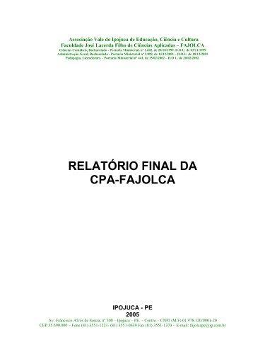 COMISSO PRPRIA DE AVALIAO DA FAJOLCA: