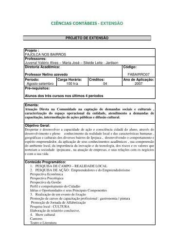 CIÊNCIAS CONTÁBEIS - EXTENSÃO - Fajolca