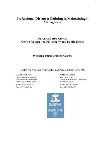 Professional Distance - CAPPE. Centre For Applied Philosophy and ...