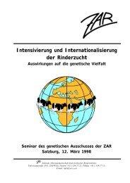 Intensivierung und Internationalisierung der Rinderzucht - Zentrale ...