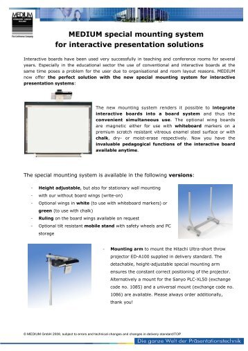 MEDIUM special mounting system for interactive presentation ...