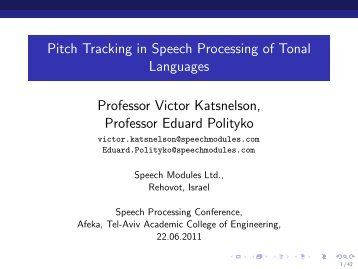 Pitch Tracking in Speech Processing of Tonal Languages - Eventact