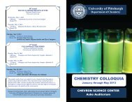 colloquia series - Department of Chemistry - University of Pittsburgh