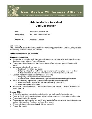 JOB DESCRIPTION: Administrative Assistant   Jewish Community .