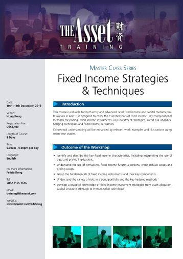 Fixed Income Strategies & Techniques - The Asset