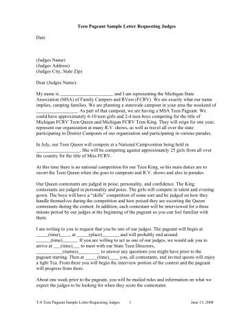 Sample confirmation letter to teen queen contestants sample letter for requesting judges mifcrv spiritdancerdesigns Images