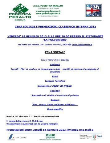 cena sociale e premiazioni classifica interna ... - Podistica Peralto