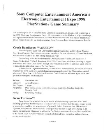Sony Computer Entertainment America's Electronic Entertainment ...