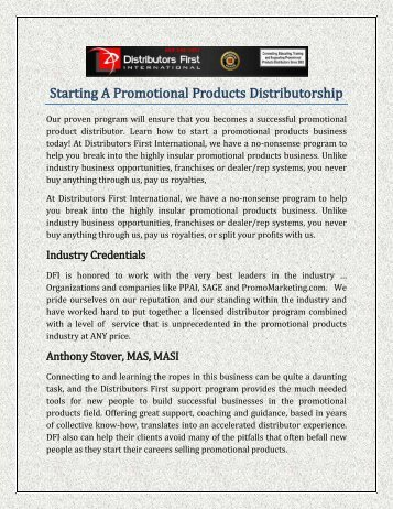 Starting A Promotional Products Distributorship