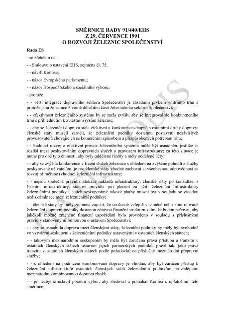 Směrnice 91/440/EHS o rozvoji železnic Společenství - edice