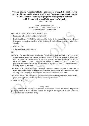 Výtah z návrhu rozhodnutí Rady o přistoupení Evropského ... - edice