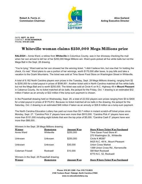 Whiteville Woman Claims 250 000 Mega Millions Prize