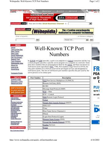 Tcp port assignments college paper help - Service name and transport protocol port number registry ...