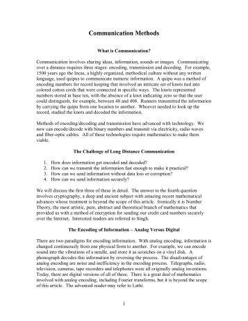 Communication Methods - Stonehill College