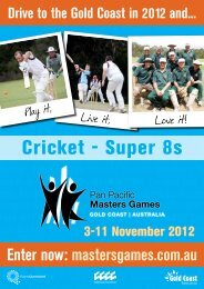 mastersgames.com.au Drive to the Gold Coast in 2012 and...
