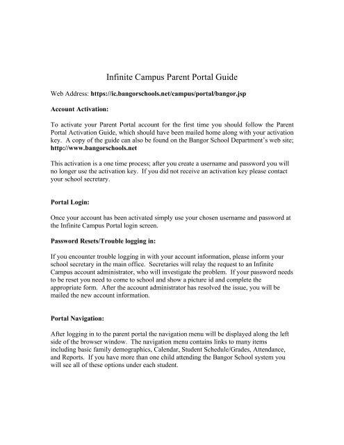 Infinite Campus Parent Portal Guide - Bangor School System