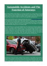 Automobile Accidents and The Function of Attorneys