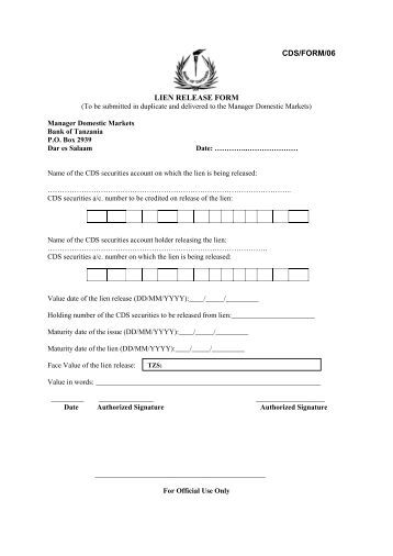 Best Lien Release Forms Pictures - Best Resume Examples For Your