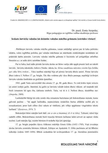 Dr. paed. Zenta Anspoka, Ieskats latviešu valodas kā ... - bilingvals.lv
