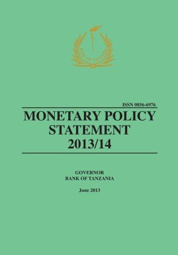 MONETARY POLICY STATEMENT 2013/14 - Bank of Tanzania