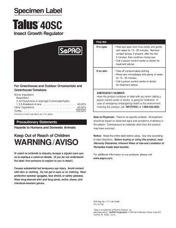 Talus 40SC label
