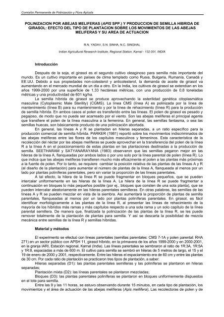 POLINIZACION POR ABEJAS MELIFERAS (APIS SPP - Apimondia