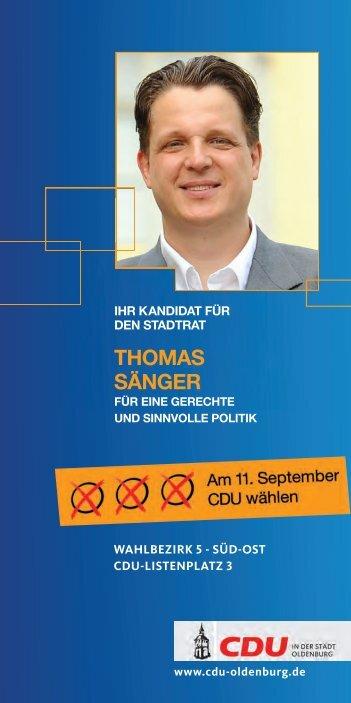 thOmas sÄnger - CDU-Kreisverband Oldenburg-Stadt